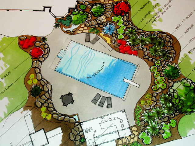 Architectural Landscape rendering drawn by the designers at Aching Acres