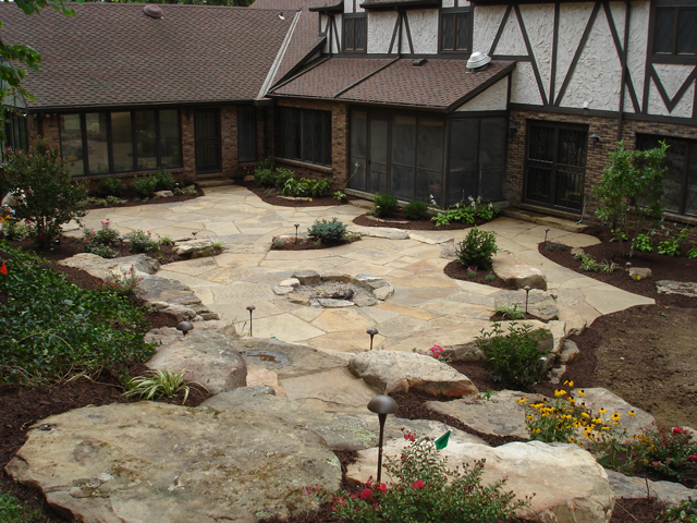 natural stone landscaping | aching acres landscaping - Natural Stone Patio Designs