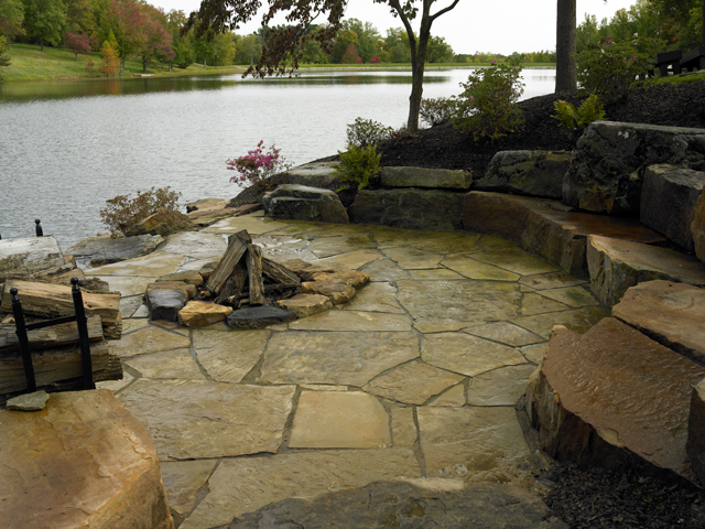 Natural Stone Fireplace Landscaping Projects Detail by Aching Acres Landscaping
