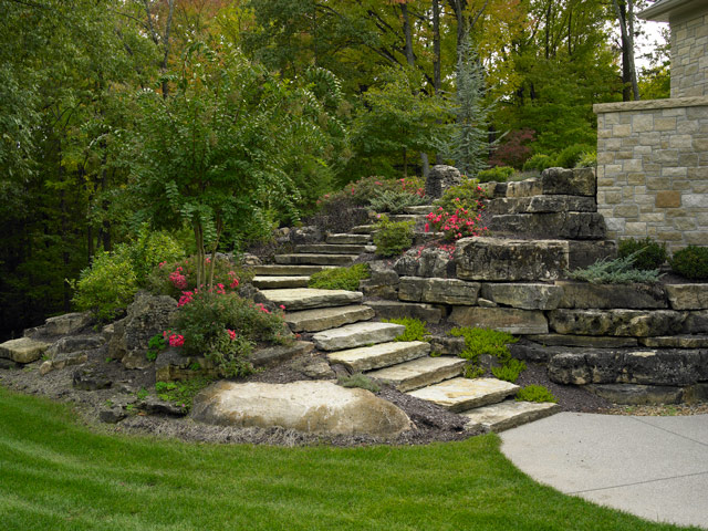 Natural Stone Boulder Landscaping Projects Detail by Aching Acres Landscaping