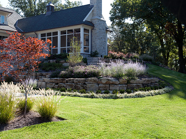 Natural Stone Walls and Ledge Rock Landscaping Projects Detail by Aching Acres Landscaping