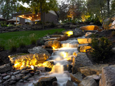 Aching Acres Outdoor Lighting on Waterfall